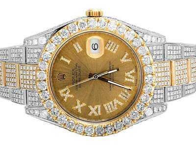 Fully Iced Mens Rolex Datejust II 41MM 116333 18K Two Tone Diamond Watch 28.35Ct