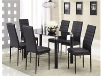 BLACK HIGH GLOSS DINNING TABLE WITH 6 CHAIRS.
