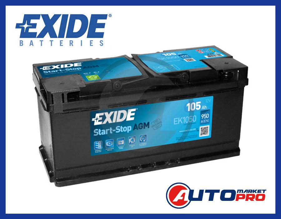 BATTERIA EXIDE EK1050 105 AH AMPERE 950 EN 12 VOLT TECNOLOGIA AGM START & STOP