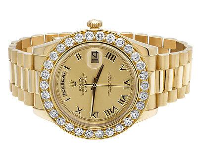 18K Mens Yellow Gold Rolex Day-Date II 41MM Presidential Diamond Watch 7.5 Ct