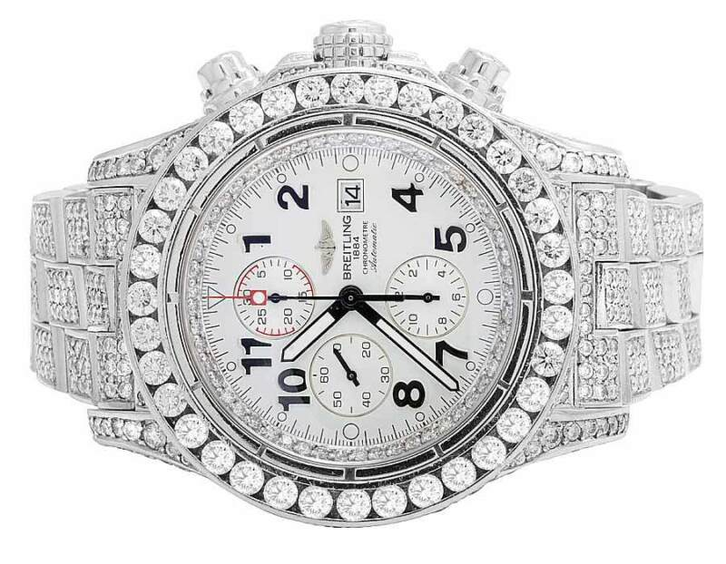 Custom Mens Breitling A13370 Super Avenger XL 52MM S.Steel with Diamonds 31.5 Ct - watch picture 1