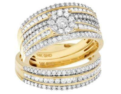Ladies/Mens 14K Yellow Gold Diamond Cluster Top Trio Bridal