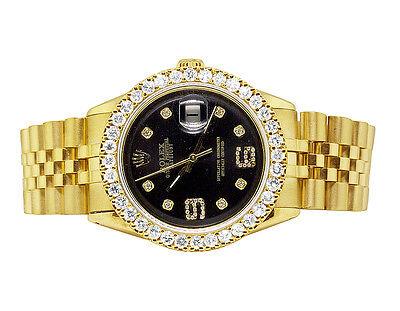 Mens Rolex Datejust Gold Plated Steel Black Dial 36MM Diamond Watch 4.5 Ct