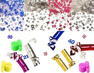 Party Confetti and Streamers Foil Birthday 18 21 30 40 50 Stars Pink Blue Silver (Streamers And Confetti)