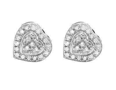 10K White Gold Real Diamonds Ladies Dual Heart Earring Studs 0.25CT 8MM
