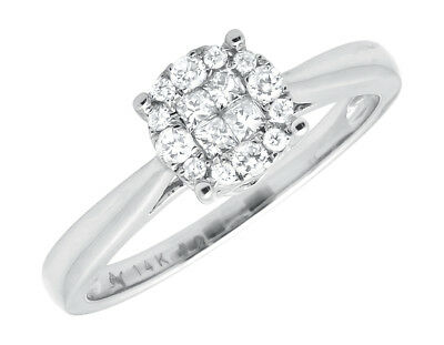 14K White Gold Princess-Cut Invisible-Set Diamond Engagement Wedding Ring .25ct