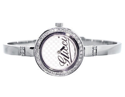 Ladies Gucci 2ct Genuine Diamond Stainless Steel Bangle Bracelet Watch YA105528 for sale  Shipping to India
