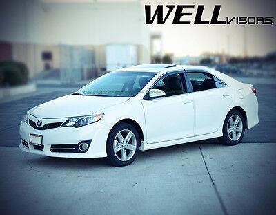Fit 12-16 Toyota Camry WellVisors JDM Smoke Chrome Trim Window Visors Rain Guard