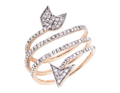 14k Rose Gold Warp Around Arrow Fashion Cocktail Diamond Orbit Strand Ring .75ct