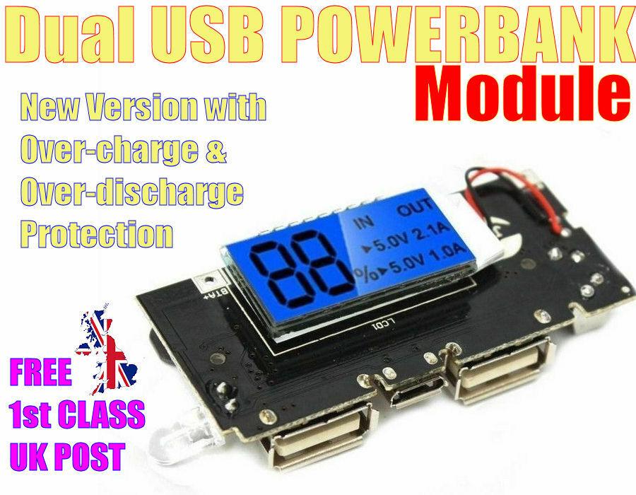 Dual USB 5V 1A 2.1A Li-ion Powerbank 18650 Battery MODULE. New DOUBLE Protection