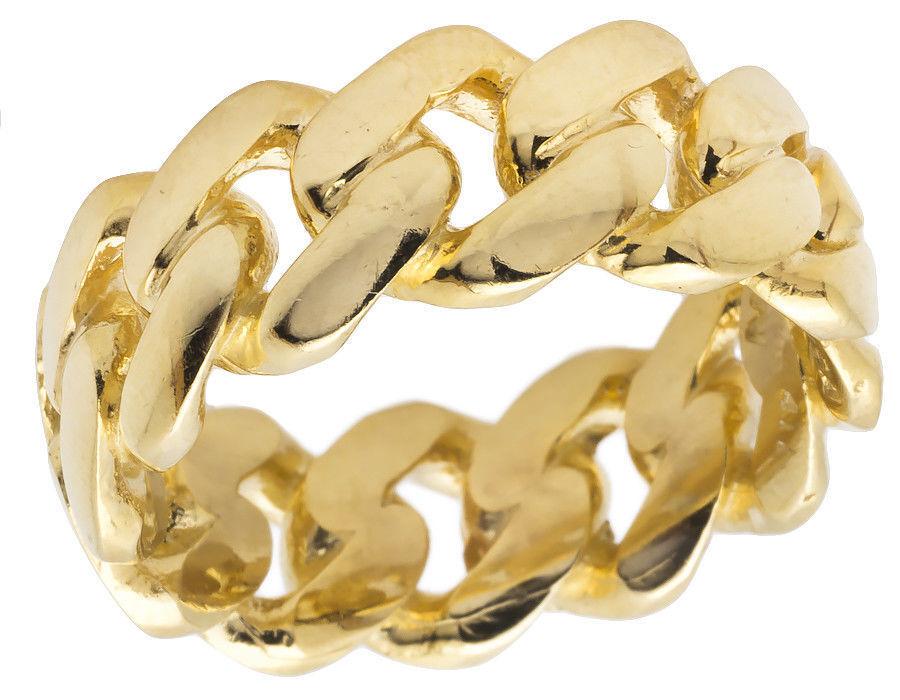 14K Yellow Gold Finish Men's Solid Miami Cuban Link Wedding Band