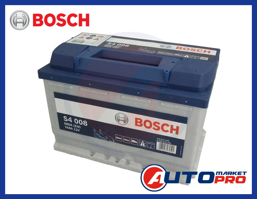 batteria per auto bosch s4 74 ah ampere 680 en 12 volt. Black Bedroom Furniture Sets. Home Design Ideas