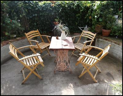4 Gartenklappstühle Klappstuhl mit Armlehne Holz DDR Gartenstuhl (+4 Stk) (171.6