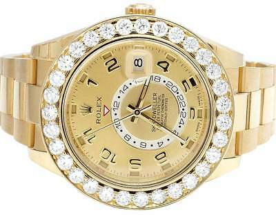 Mens New 18K Yellow Gold 326938 Rolex Sky Dweller 42mm VS Diamond Watch 8.5 Ct