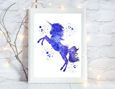 unicorn print watercolour nursery a4 gloss poster picture,unframed 5
