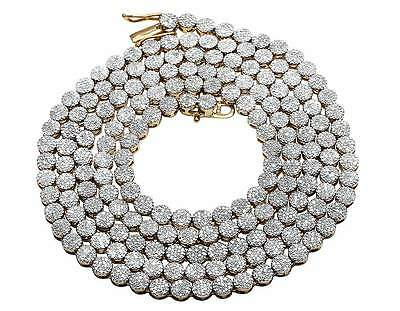 Men's 10K Yellow Gold Genuine Diamond Round Cluster Chain Necklace 7.5 ct 24""