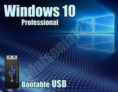 Windows 10 Pro Professional 64bit Licence + bootable USB 3.0 key 100% genuine