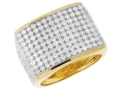 10K Gelbgold Herren Pflastern Vereist Original Diamant-Hochzeit Rosa Ring Band ()