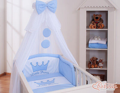 Bobono Himmel Bettset Little Prince Kleiner Prinz Baldachin Krone Blau 6Tlg Neu