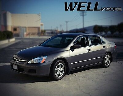 WellVisors For 03-07 Honda Accord 4Dr W/ Black Trim Side Window Visors Deflector