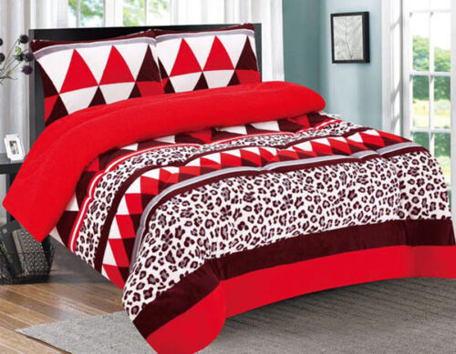 3 Piece Leopard Red Flannel Sherpa Blanket Queen/King Size 7 lbs Bedding