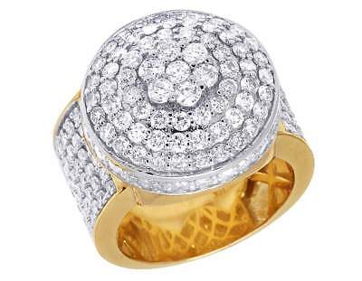Men's 10K Yellow Gold Genuine Diamond Round Cluster 3D Fashion Ring 4CT 19MM