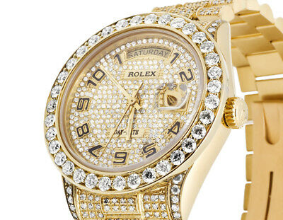 18K Mens 36MM Yellow Gold Rolex 18038 Presidential Day-Date Diamond Watch 15 Ct