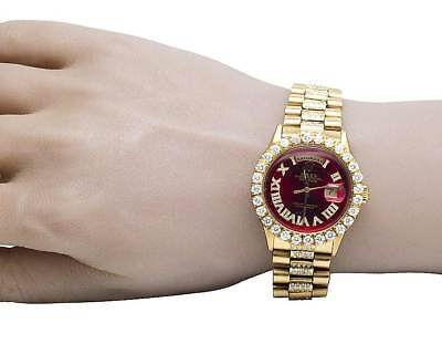 18K Mens Yellow Gold Rolex President Day-Date 36MM Red Dial Diamond Watch 10 Ct