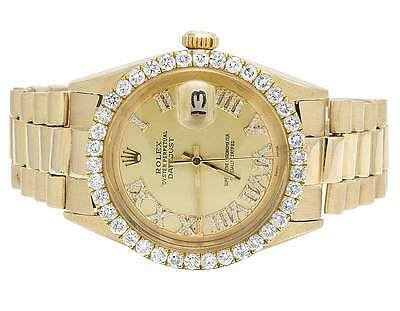 Mens Rolex 18K Yellow Gold Presidential Datejust 36MM Diamond Watch 3.0 Ct