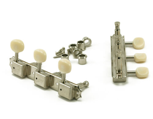 KD-3P-NP   KLUSON® TRADITIONAL - 3 PER PLATE, OVAL BUTTON TUNERS, NICKEL FINISH
