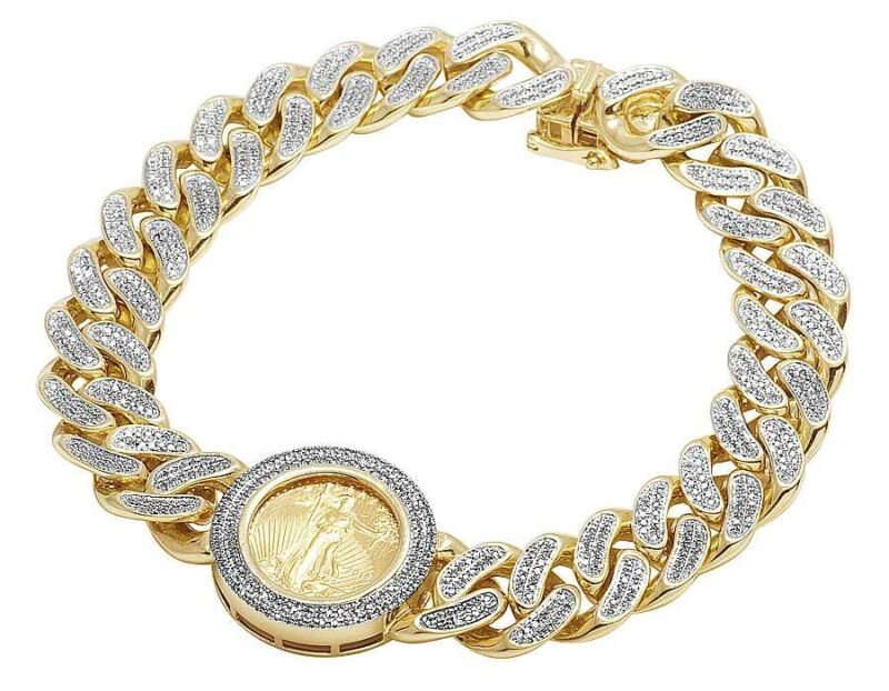 "24k Yellow Gold Lady Liberty Coin 12mm Genuine Diamond Bracelet 2 1/2 Ct 8.5"""