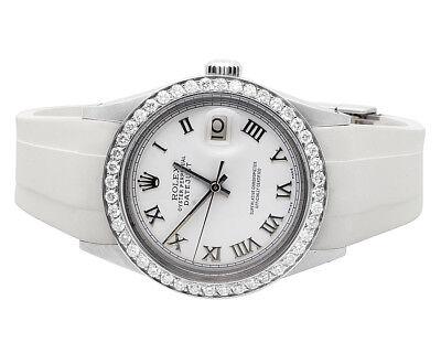 Unisex Rolex Datejust 36MM White Rubber Band Roman Dial Diamond Watch 2.5 Ct