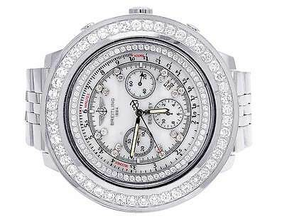 Custom Mens Breitling Bentley A25362 48MM S.Steel White Diamond Watch 7.35 Ct