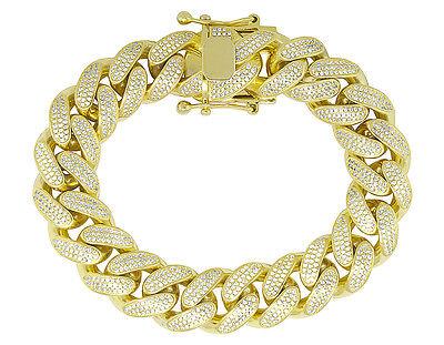 "Men Sterling Silver Yellow Gold Miami Cuban Link Lab Diamond Bracelet 9mm 8.5"""
