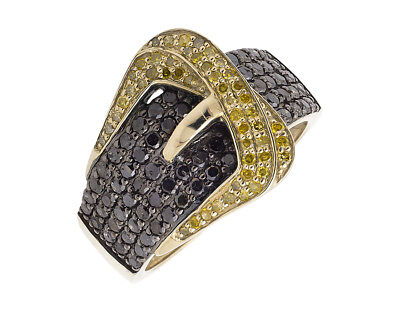 10K Yellow Gold Belt Buckle Black And Canary Diamond Statement Band Ring 1.50ct.