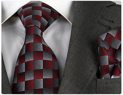 NEW ITALIAN DESIGNER RED / GREY CHECK TIE & HANKY