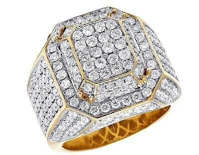 Mens 10K Yellow Gold Real Diamond 3D Square Wedding Fashion Pinky Ring 4 6/10 Ct