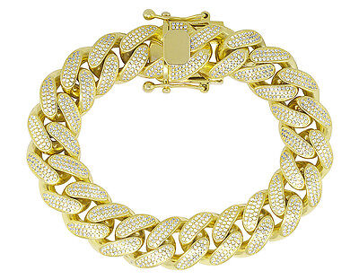 """Men's Sterling Silver Yellow Gold Miami Cuban Link Simulated Diamond Bracelet 8"""""""