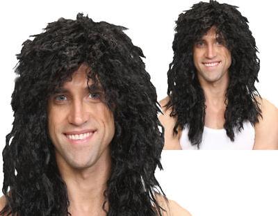 80er Jahre Rock Star Schwarz Gelockt Herren Promi Pop Star Kostüm Perücke