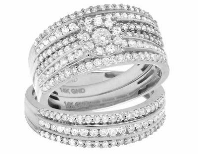Ladies/Mens 14K White Gold Diamond Cluster Top Trio Bridal R