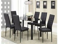 Black Glass Dining Table and Chairs Set with 6 Faux Leather Chairs