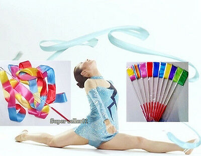 9Color Hot Dance Ribbon Gym Rhythmic Art Gymnastic Ballet Streamer Twirling Rod  - Dance Ribbon