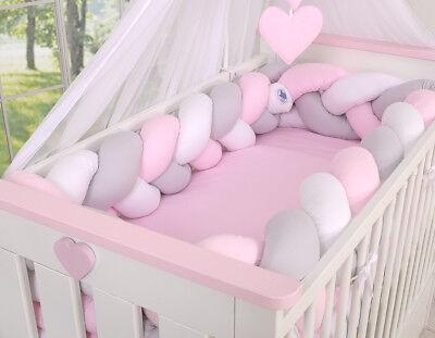 Geflochtenes Nestchen- Kopfschutz für Kinderbett XXL- weiss-grau-rosa