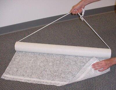Aisle Runner White 50' floral print fabric w/adh & rope