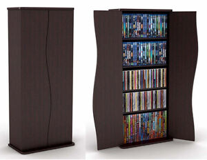 Blu-Ray, DVD, CD Storage Cabinet Media Tower Display Rack Shelf with Doors!!!
