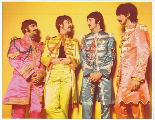 BEATLES: JOHN, PAUL, GEORGE & RINGO in SGT. PEPPER UNIFORMS 11x14 VINTAGE PHOTO
