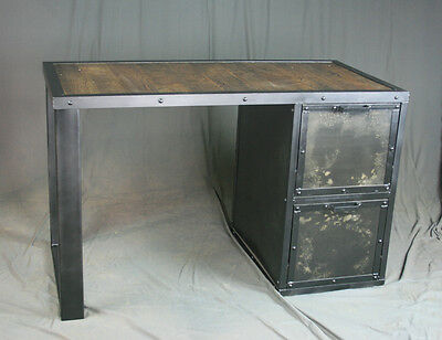 Industrial Desk With File Drawers. File Cabinet. Handmade And Customizable