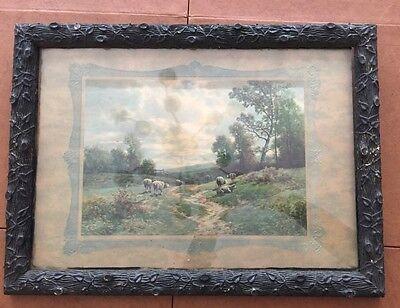 """Vintage Print in Vintage Frame 16/5"""" x 22"""" Pastoral Sheep Print"""