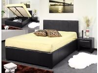 Brand New 4ft6 Double Leather Storage Ottoman Bed Frame, Gas Lift-Up with Mattress