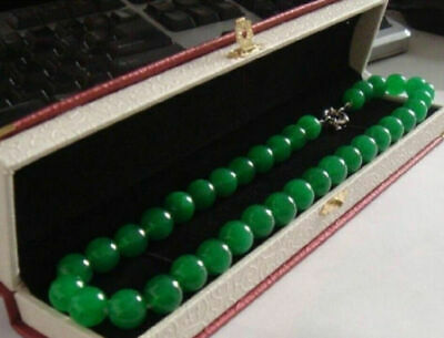 Long 18 Inches 10mm Natural Green Jade Round Bead Necklaces AAA+ - Green Bead Necklaces